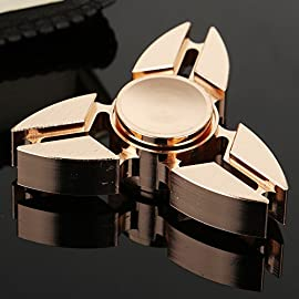 Hand Spinner, Bekhic Pro Metal Fidget Tri-Spinner Toys Stress Reducer Ceramic Bearing - Perfect For ADD, ADHD, Anxiety, and Autism Adult Children … (Golden)