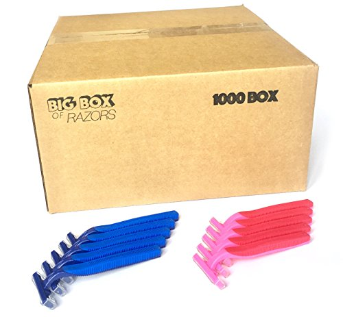1,000 Box His & Her Combo Pack of Blue & Pink Bulk Wholesale Disposable Twin Blade Razors for Men & Women by Big Box of Razors