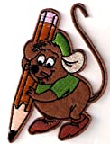 Gus mouse writing w pencil Iron On / Sew On Patch ~ Cinderella ~ Disney Movie ~ rat