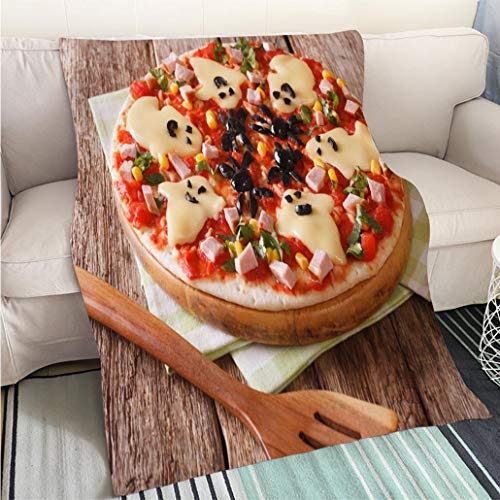 BEICICI Comforter Multicolor Bed or Couch Holiday Pizza Halloween with Ghosts Cheese Close up Horizontal Hypoallergenic - Plush Microfiber Fill - Machine Washable ()