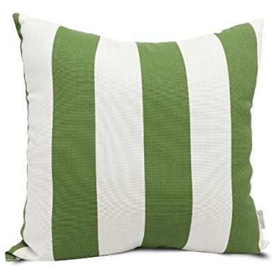 Majestic Home Goods Pillow, X-Large, Vertical Stripe, Sage - Dimensions - 24 in. x 10 in. x 24 in. (approx.) Perfect convenient size for all indoor and outdoor environments U.V. Treated Covers - these throw pillows uses an outdoor treated polyester and cotton cover that offers up to 1000 hours of protection Ultra Comfortable - the pillows are filled with our Super High Loft PolyFiber Fill to give them an ultra-soft cushion feel - patio, outdoor-throw-pillows, outdoor-decor - 51imwYuwHvL. SS400  -
