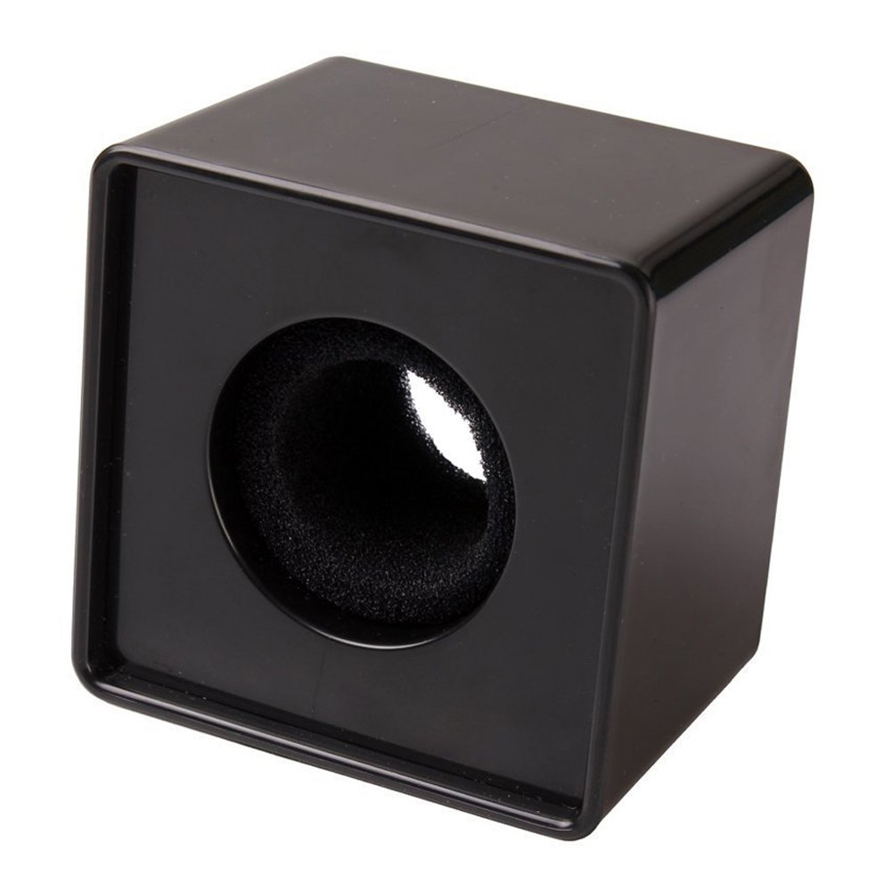 TOOGOO(R) 1pz Negro ABS Microfono Mini telefono Estacion de bandera Logo cubo cuadrado de entrevista 044693