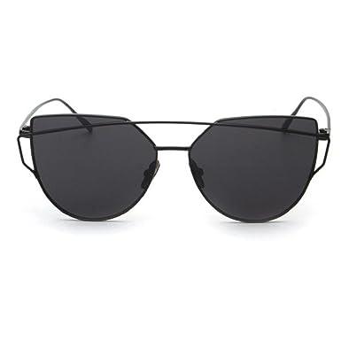 66806ff2f6 Clearance Hot Sale EUzeo Twin-Beams Classic Women Metal Frame Mirror  Sunglasses Cat Eye Glasses (Black)  Amazon.co.uk  Clothing