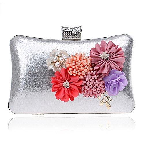 Clutch Silver en Pochette Fleurs De À Sac Dehors Femme Luxueuses Orfila Main Épaule Sac Soirée À Main Bourse q1Tgnt