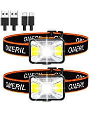 Head Torch, OMERIL 2 Pack USB Rechargeable Headlamps with Super Bright 200 Lumens,5 Lighting Modes,White&Red Light,IPX5 Waterproof LED Headlight for Kids Adults,Running,Walking,Cycling,Camping,Fishing