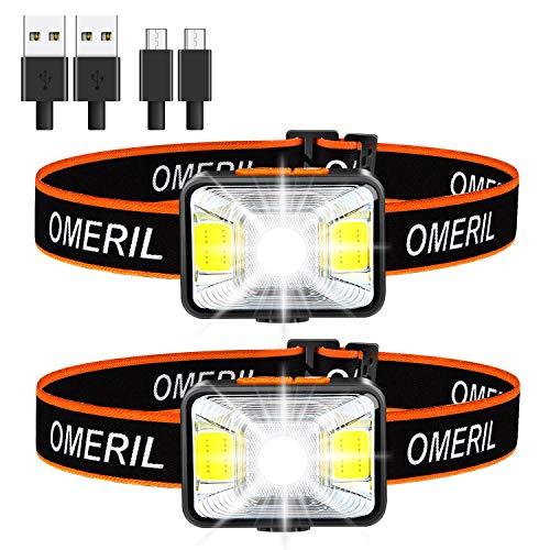 OMERIL Led-hoofdlamp, oplaadbaar via USB, hoofdlamp, zeer helder, waterdicht, mini-hoofdlamp, rood licht voor joggen…