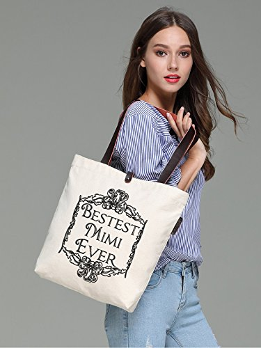 So'each Women's Best Mimi Letters Graphic Top Handle Canvas Tote Shoulder Bag