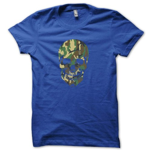 Military SKULL Special Ops Camouflage camo JUNIORS BABYDOLL T-SHIRT Royal M