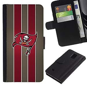 Pirate equipo de fútbol - la tarjeta de Crédito Slots PU Funda de cuero Monedero caso cubierta de piel Para Samsung Galaxy Note 4 IV