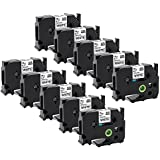 10 Rolls Replace Brother TZe241 Black on White Standard Laminated Label Tape TZe-241 Compatible for Brother PT-D400AD,PT-D400VP,PT-D450,PT-D600VP Label Maker Label Printer 0.7 In (18 mm) x 26.2 ft(8m)