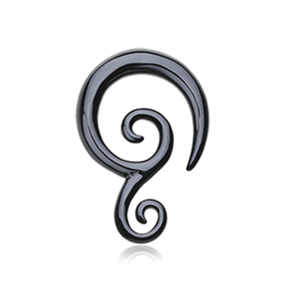 Black Colorline Tribal Swirls Ear Gauge Spiral Hanging Tapers (Sold as a Pair) (6G)