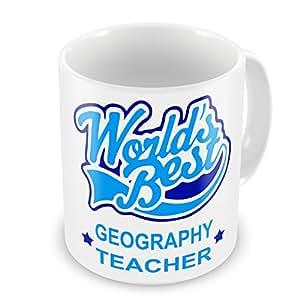 World's Best para profesor geografía diseño de taza - azul