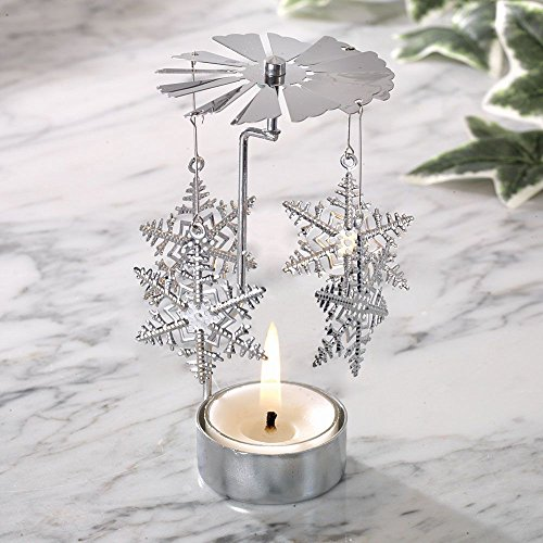 - Bits and Pieces - 5 Inch Rotating Snowflake Tealight Candle Holder - Spinning Scandinavian Design Tea Light