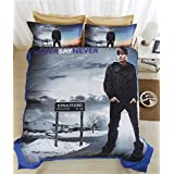 Lotus Karen Home Textile 2016 New 3D Justin Bieber 4-piece Bedding Sets,Microfiber Polyester 1Duve Cover,1Flat Sheet,2Pillow Shames,King Queen Full Twin Size (King Size)