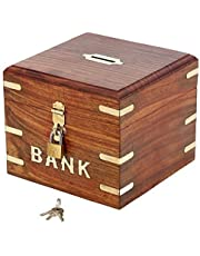 Indian Coin Bank Money Saving Box - Banks for Kids & Adults - Wood Vacation Piggy Bank