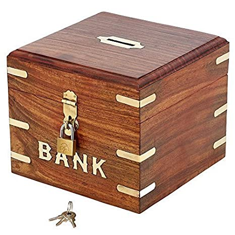 ShalinIndia Indian Coin Bank Money Saving Box   Banks For Kids U0026 Adults    Wood Vacation