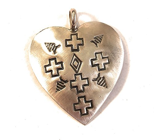 Nizhoni Traders LLC Navajo Hand Stamped Sterling Silver Heart Necklace from Nizhoni Traders LLC