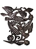 Garden Birds Metal Wall Art Handmade in Haiti from Recycled Oil Drums 16″ x 17″ For Sale