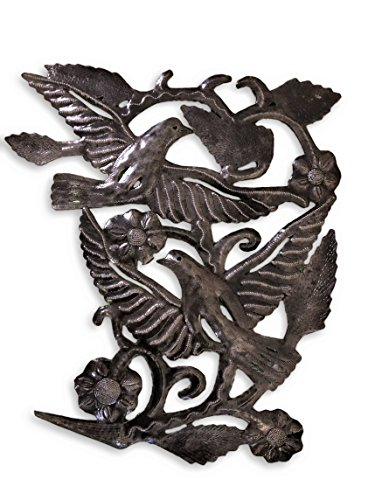"Garden Birds Metal Wall Art Handmade in Haiti from Recycled Oil Drums 16"" x 17"""