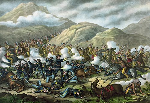 - Posterazzi Vintage Military Featuring The Battle of Little Bighorn Also Known as Custer's Last Stand. Poster Print (17 x 11)