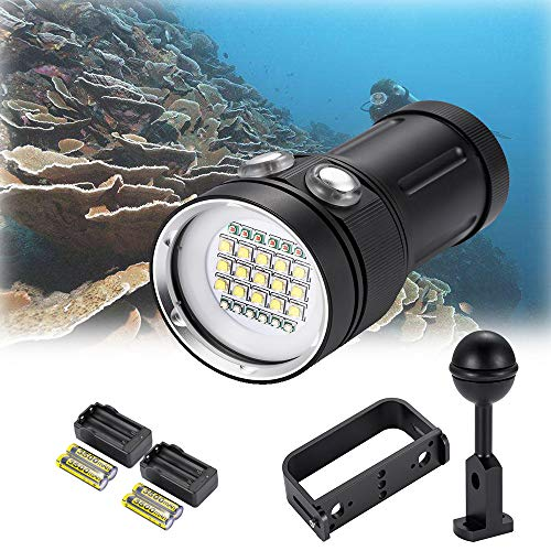 (DOMINTY Diving Flashlight 25000LM 15x XM-L2+6X Red+6X UV LED Photography Video Scuba Dive Light Submarine Rechargeable Waterproof Underwater 100M Torch Handheld (Light+2 Stand+Battery+Charger) )