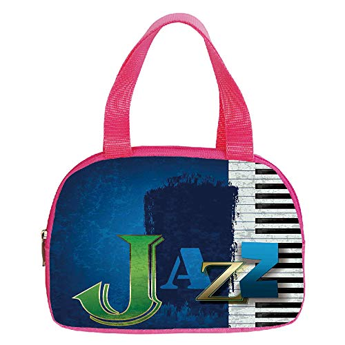 Personalized Customization Small Handbag Pink,Jazz Music,Abstract Cracked Jazz Music Background with Piano Keys Music Themed Print,Navy Green White,for Girls,Personalized Design.6.3