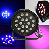 Sumger Sumger 18W Up-Lighting RGB Color Mixing LED Flat Par Can - 18 LEDs per light - Red, Green and Blue color mixing DMX512 Stage Lighting Dance Floor Lighs For Disco DJ Wedding Party Show Live Concert