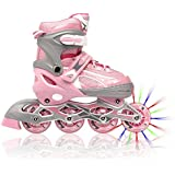 Adjustable Inline Skates for Girls, Featuring Illuminating Front Wheels, Awesome-looking, Comfortable & Durable Rollerblades, Perfect for Indoors & Outdoors, Unconditional 60-day Money Back Guarantee