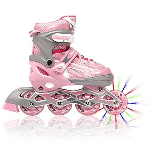 Adjustable Inline Skates for Girls, Featuring Illuminating Front Wheels, Awesome-looking, Comfortable & Durable Rollerblades, Perfect for Indoors & Outdoors, 60-day - Front Roller