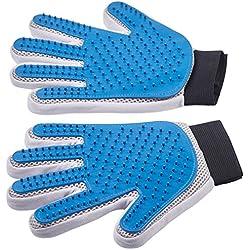Pet Grooming Gloves - Left + Right - Enhanced Five Finger Design - for Cats, Dogs & Horses - Long & Short Fur - Gentle De-Shedding Brush - Your Pet Will Love It