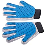 Pet Grooming Gloves - Left + Right - Enhanced Five Finger Design - For Cats, Dogs & Horses - Long & Short Fur - Gentle De-Shedding Brush - Your Pet Will Love It