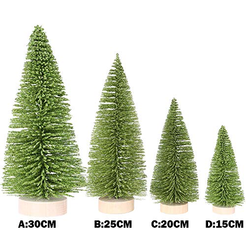 Livoty Christmas Decoration Christmas Tree Mini Pine Tree with Wood Base DIY Crafts Home Table Decor (Green, 7.8inch) by Livotyy (Image #2)