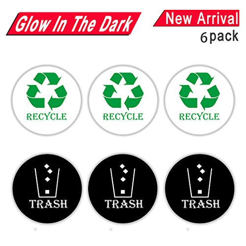 Peel and Stick Round Recycle Trash Sticker Sign for Easy Recognition, 4 Inch Recycle Trash Bin Logo Sticker for Metal Aluminum Steel or Plastic Trash Cans - Indoor & Outdoor 6 Pack