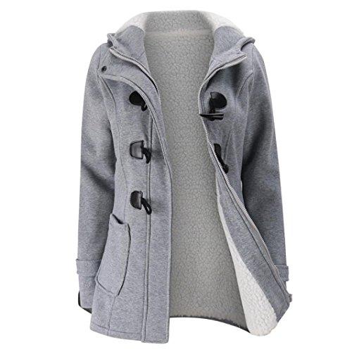 Peacoat Jacket Blazer (Paymenow Women Plus Size Fleece Warm Winter Pea Coat Horns Buckle Hooded Coat Long Windbreaker Outwear (Gray, XXL))