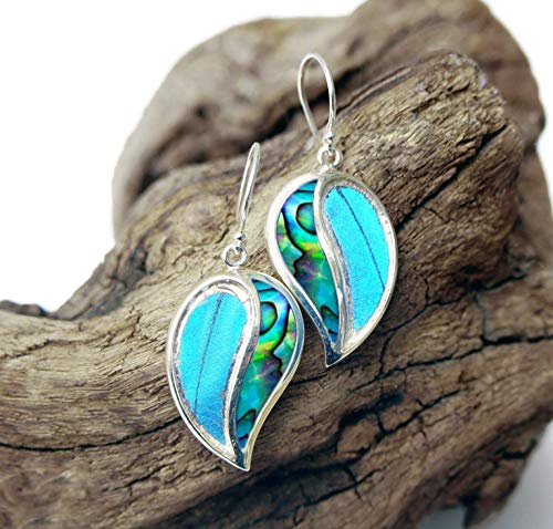 Real Blue Morpho Butterfly Wing Earrings with Abalone Shell in Sterling