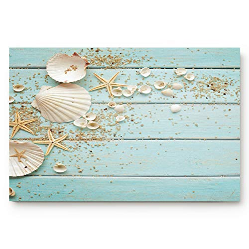 Custom Doormats Board with a Lot of Seashells and Starfish Image Indoor/Entry Way Bathroom Mats Rubber Non-Woven Fabric Non Slip 24