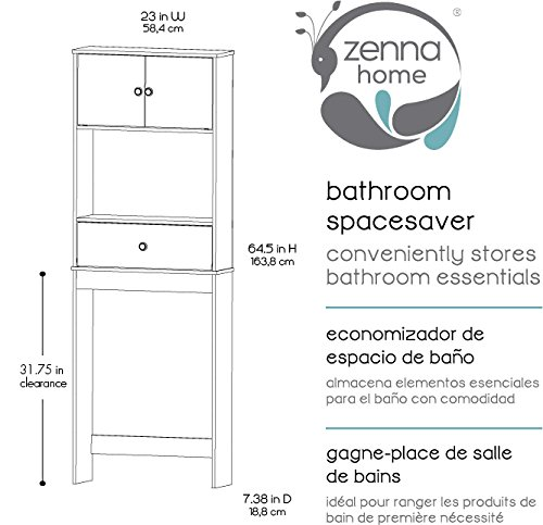 Zenna Home Drop Door Over The Toilet Bathroom Spacesaver, Bath Storage Shelves, White
