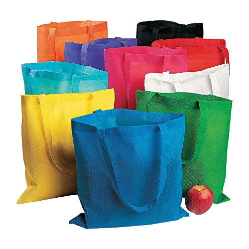 Fun Express Nonwoven Polyester Tote Bag Assortment - 50 Pieces