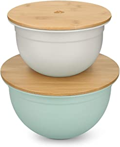 Navaris Metal Mixing Bowls (Set of 2) - Pastel Color Mixing Bowl Set with Wood Lids to Prepare, Serve, Store Food, Salad - 1.5 QT / 3 QT - Gray, Mint