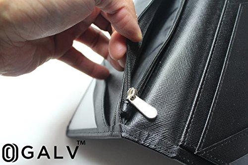 Waitress Waiter Server Book Organizer with Zipper Pocket Wallet for Waitstaff Black 5x9 and 12 Money Pockets with Pen Holder Fits Restaurant Guest Check Order Pad & Apron By Ogalv by Ogalv (Image #3)