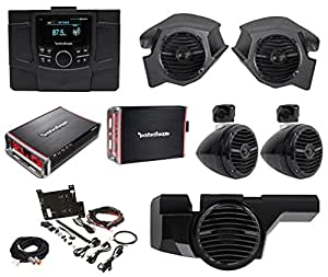 Rockford Fosgate Polaris RZR-STAGE4 Receiver+4) Speakers+2) Amps+Sub+Install Kit