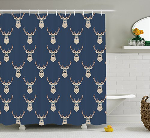 Ambesonne Deer Shower Curtain, Hipster Inspired Deer with Antlers Glasses Mustaches Funny Animal Pattern Vintage, Fabric Bathroom Decor Set with Hooks, 84 Inches Extra Long, Slate Blue - Curtain Shower Hipster