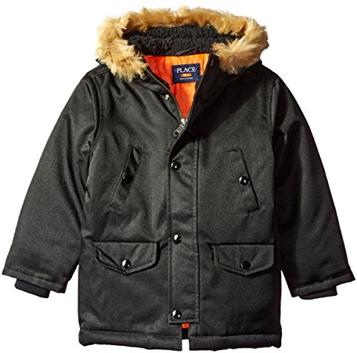 The Children's Place Big Boys' Twill Parka, Black, XS (4) (Black Twill Jacket Kids)