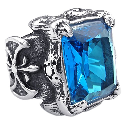KONOV Mens Crystal Stainless Steel Ring, Gothic Dragon Claw, Blue, Size 10