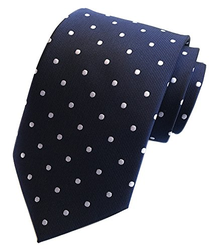 Navy Blue Polka Dot - Secdtie Men's Polka Dot Silk Ties Jacquard Woven for Wedding Party Business (One Size, Navy Blue(White Dot))