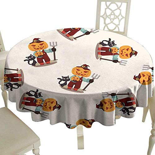 WinfreyDecor Fabric Dust-Proof Table Cover Halloween Party Costume Seamless Pattern for Kitchen Dinning Tabletop Decoration D63