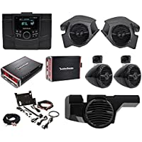 Rockford Fosgate Polaris RZR-STAGE4 Receiver+4) Speakers+2) Amps+Sub+Install Kit
