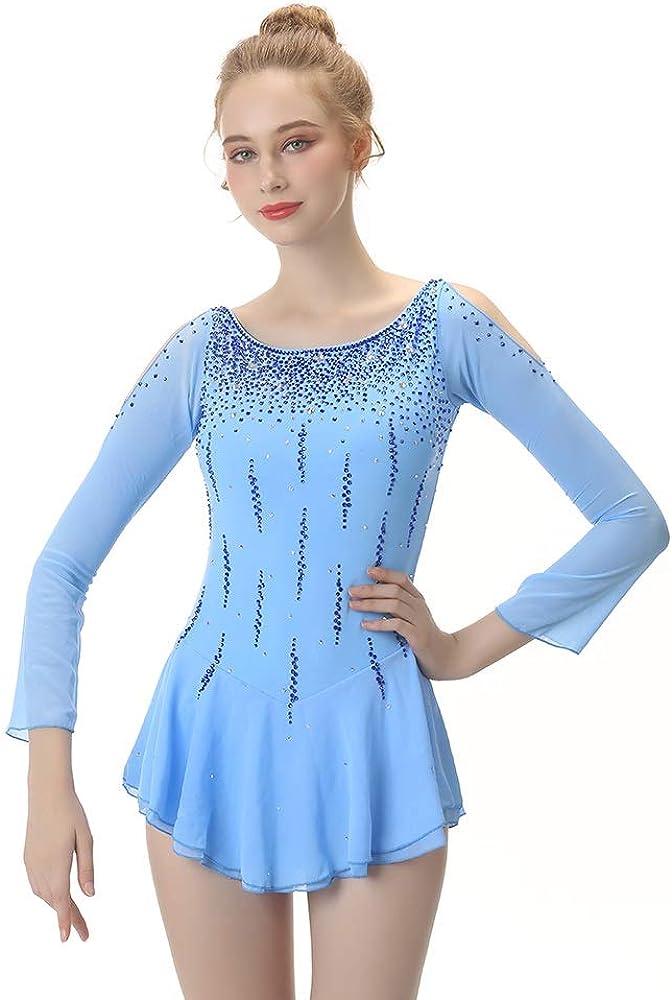 フィギュアスケートドレス女性、女の子用アイススケートドレススカイブルースパンデックス非弾性トレーニング競技スケートウェア単色長袖 スカイブルー M