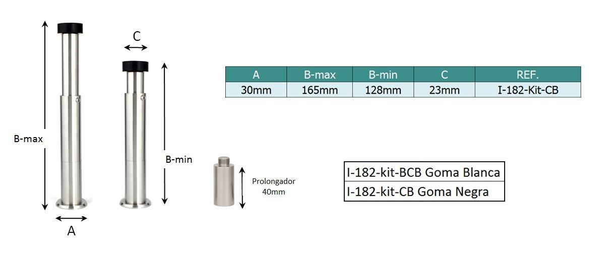 Evi Herrajes 040182KITCBTPRAM Kit tope de puerta para pared y prolongador Goma negra Regulable 132-165mm: Amazon.es: Bricolaje y herramientas