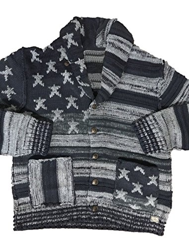 - Luxuriously 100% Royal Alpaca Shawl Cardigan, USA Flag Grey Stripes, Soft, XXXL